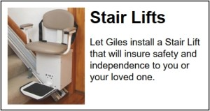 Chair lifts installed in Charleston, SC by Giles Professional Services.
